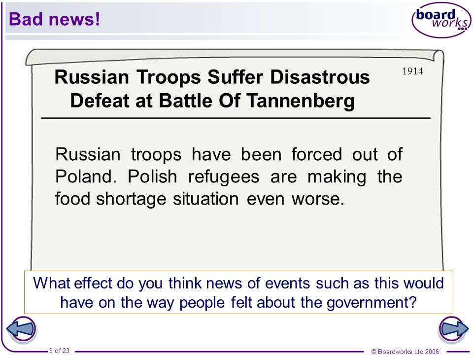 © Boardworks Ltd 2006 9 of 23 Russian troops have been forced out of Poland. Polish refugees are making the food shortage situation even worse. What e