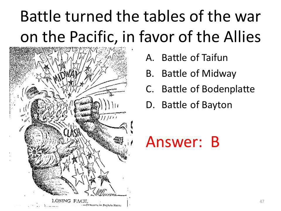 Battle turned the tables of the war on the Pacific, in favor of the Allies A.Battle of Taifun B.Battle of Midway C.Battle of Bodenplatte D.Battle of B