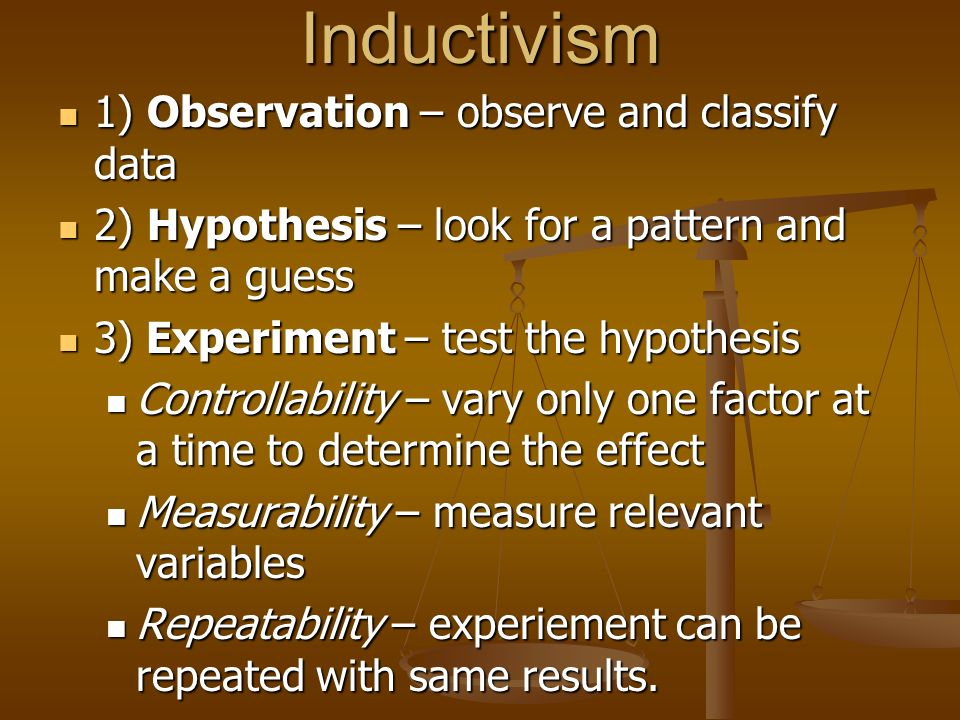 Inductivism 1) Observation – observe and classify data 1) Observation – observe and classify data 2) Hypothesis – look for a pattern and make a guess