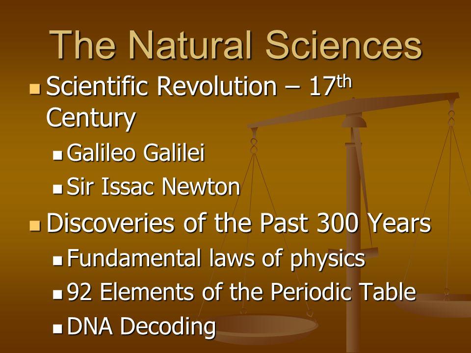 Natural Sciences Natural Sciences include: Natural Sciences include: Physics Physics Chemistry Chemistry Biology Biology