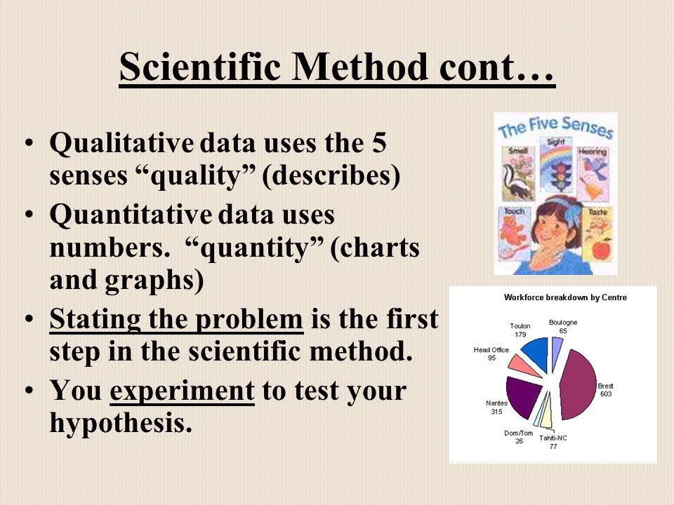 Scientific Method cont… Qualitative data uses the 5 senses quality (describes) Quantitative data uses numbers.