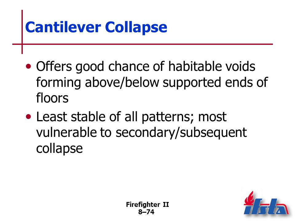 Firefighter II 8–73 Cantilever Collapse When one or more walls of a multistory building collapse leaving floors attached to/ supported by remaining walls (Continued)
