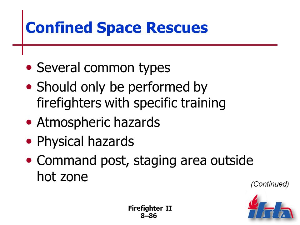 Firefighter II 8–85 Confined Space Rescues Confined space –Large enough and configured so that employee can bodily enter/perform assigned work –Limite