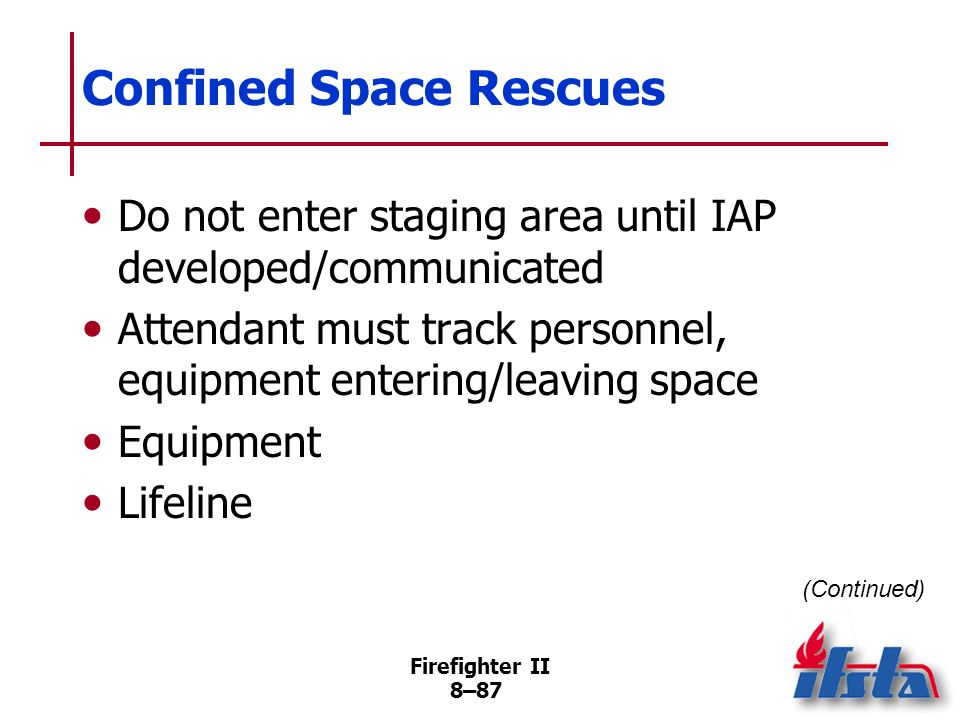 Firefighter II 8–86 Confined Space Rescues Several common types Should only be performed by firefighters with specific training Atmospheric hazards Ph