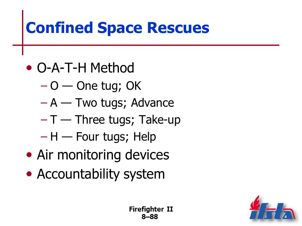 Firefighter II 8–87 Confined Space Rescues Do not enter staging area until IAP developed/communicated Attendant must track personnel, equipment entering/leaving space Equipment Lifeline (Continued)