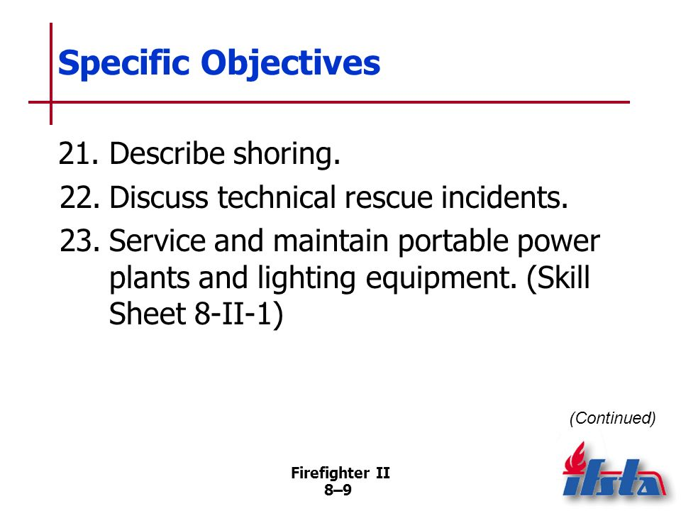 Firefighter II 8–8 Specific Objectives 18.Describe common patterns of structural collapse. 19.Describe the most common means of locating hidden victim
