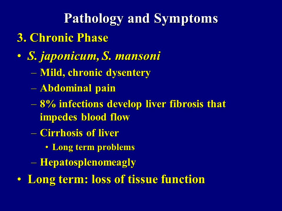 Pathology and Symptoms 3. Chronic Phase S. japonicum, S. mansoniS. japonicum, S. mansoni –Mild, chronic dysentery –Abdominal pain –8% infections devel
