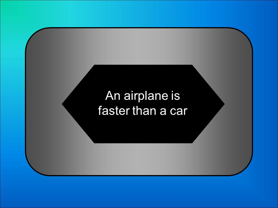 A:B: An airplane is fast than a car An airplane is fastest than a car 20 Whats Un avión es más rápido que un coche in English?: C:D: An airplane is faster than a car An airplane is faster a car