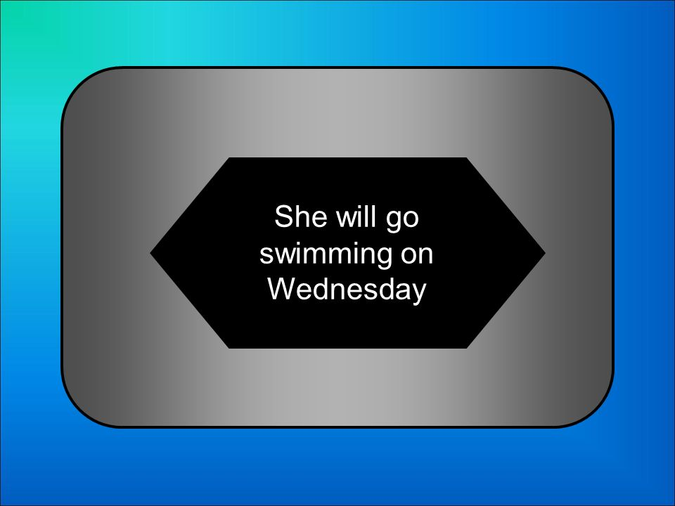 A:B: She will go swimming on Wednesday She will swim on Wednesday 21 Whats Ella irá a nadar el miércoles in English?: C:D: She will swimming on Wednesday She will go swimming in Wednesday