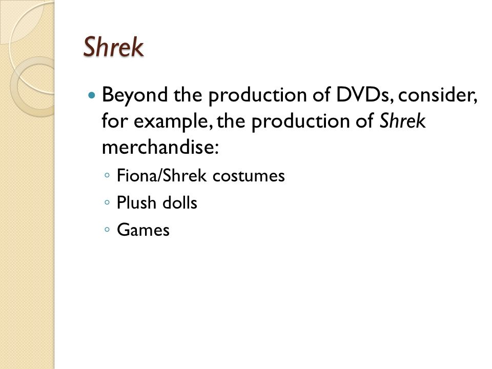 Shrek Beyond the production of DVDs, consider, for example, the production of Shrek merchandise: Fiona/Shrek costumes Plush dolls Games