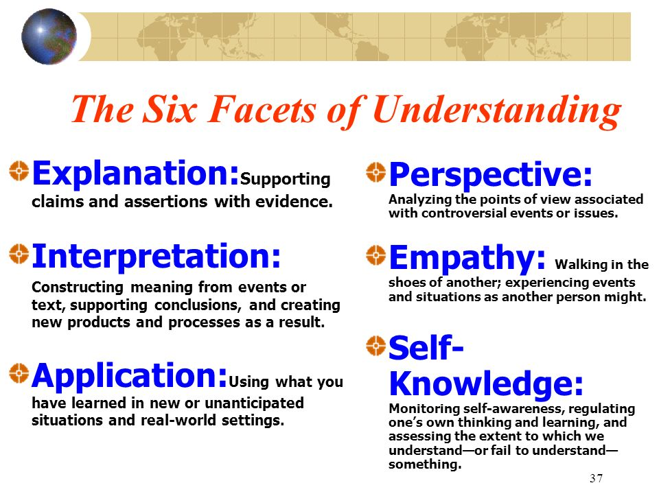 37 The Six Facets of Understanding Explanation: Supporting claims and assertions with evidence. Interpretation: Constructing meaning from events or te
