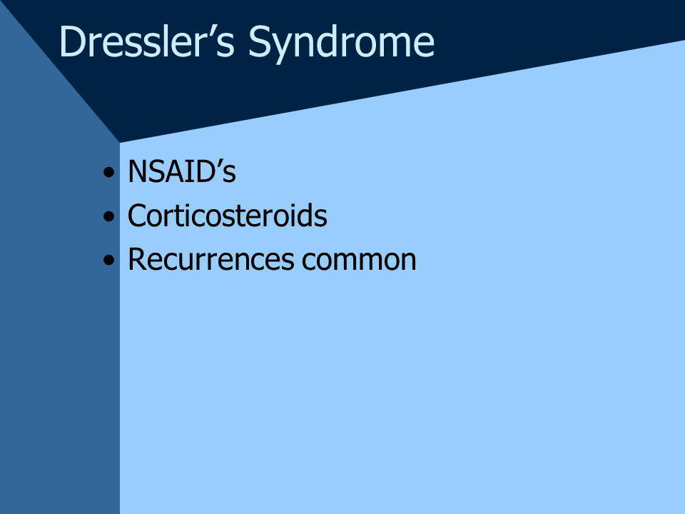 Dresslers Syndrome NSAIDs Corticosteroids Recurrences common
