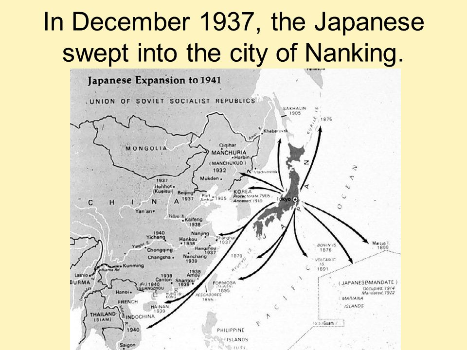 In December 1937, the Japanese swept into the city of Nanking.