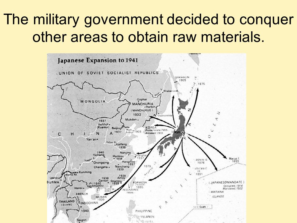The military government decided to conquer other areas to obtain raw materials.