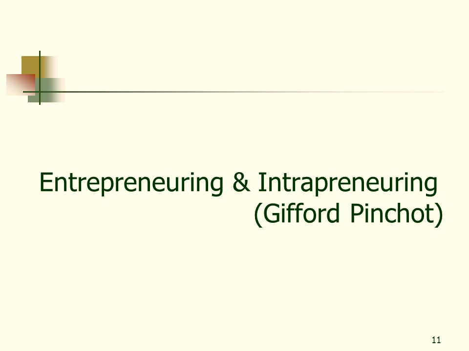 11 Entrepreneuring & Intrapreneuring (Gifford Pinchot)