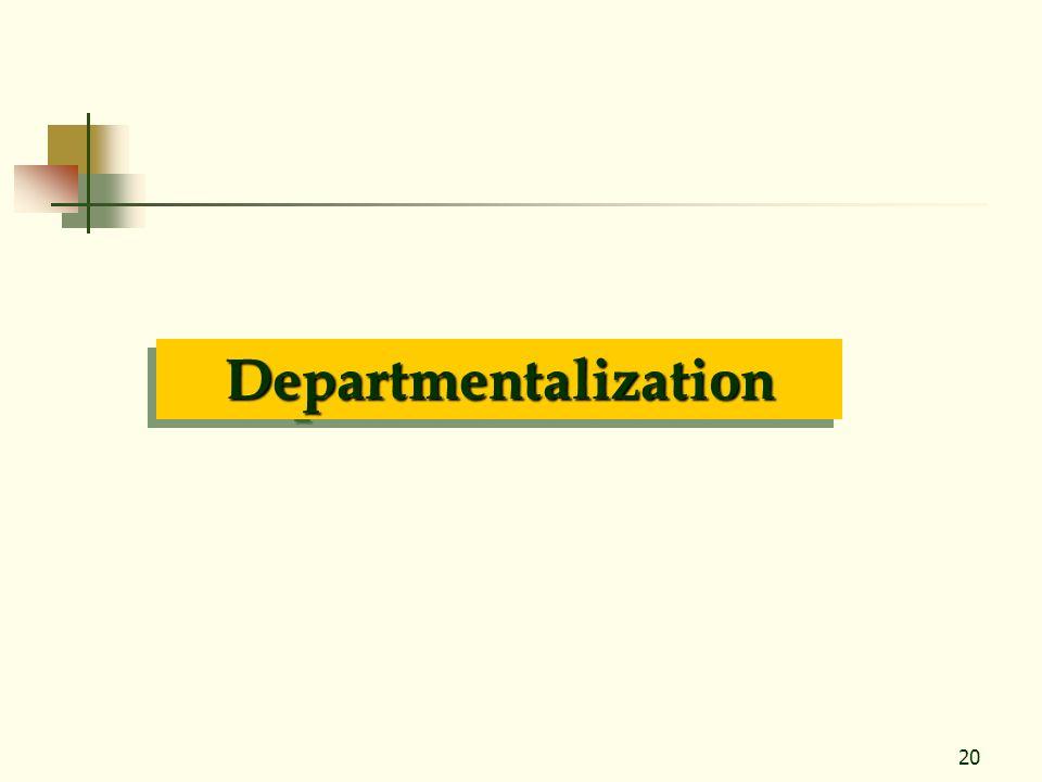 20 DepartmentalizationDepartmentalization