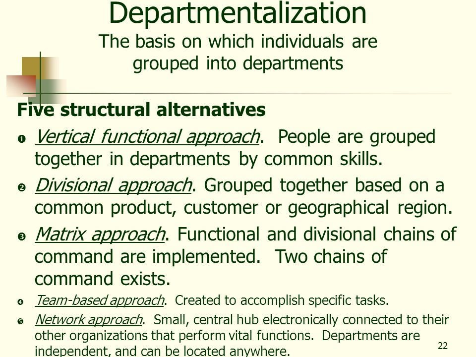 22 Departmentalization The basis on which individuals are grouped into departments Five structural alternatives Vertical functional approach. People a