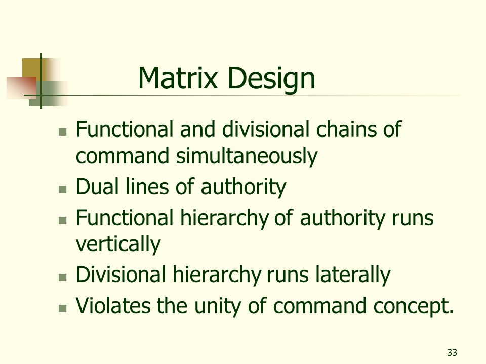 33 Matrix Design Functional and divisional chains of command simultaneously Dual lines of authority Functional hierarchy of authority runs vertically