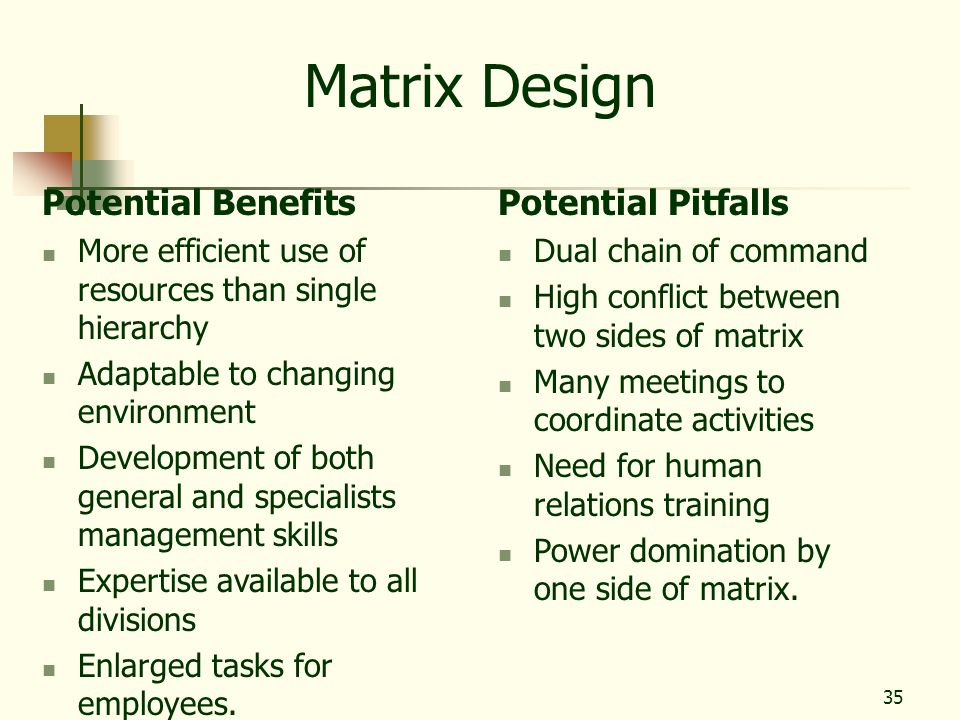 35 Matrix Design Potential Benefits More efficient use of resources than single hierarchy Adaptable to changing environment Development of both genera