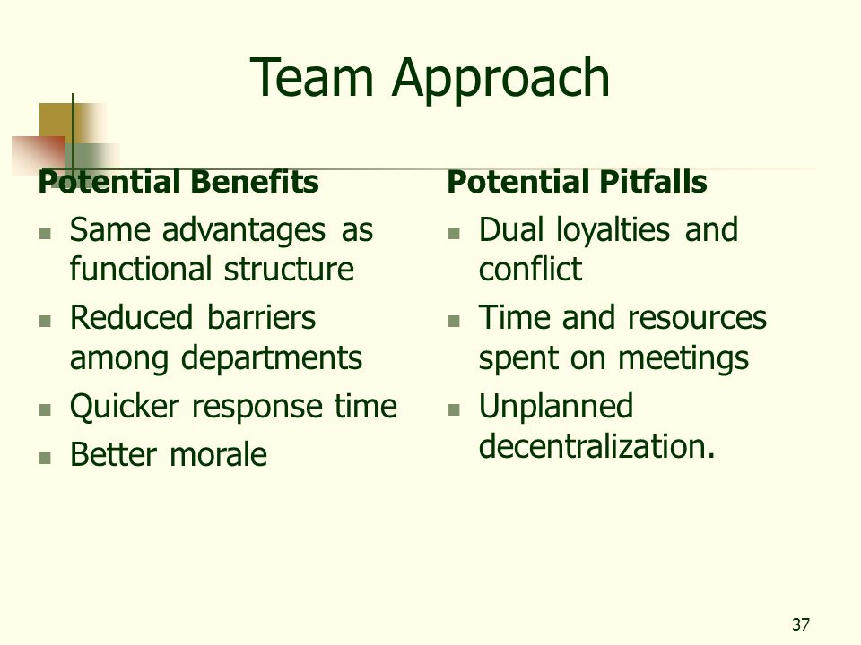 37 Team Approach Potential Benefits Same advantages as functional structure Reduced barriers among departments Quicker response time Better morale Pot