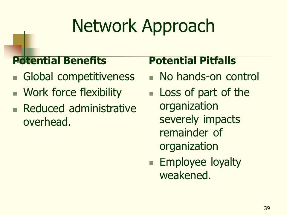 39 Network Approach Potential Benefits Global competitiveness Work force flexibility Reduced administrative overhead. Potential Pitfalls No hands-on c