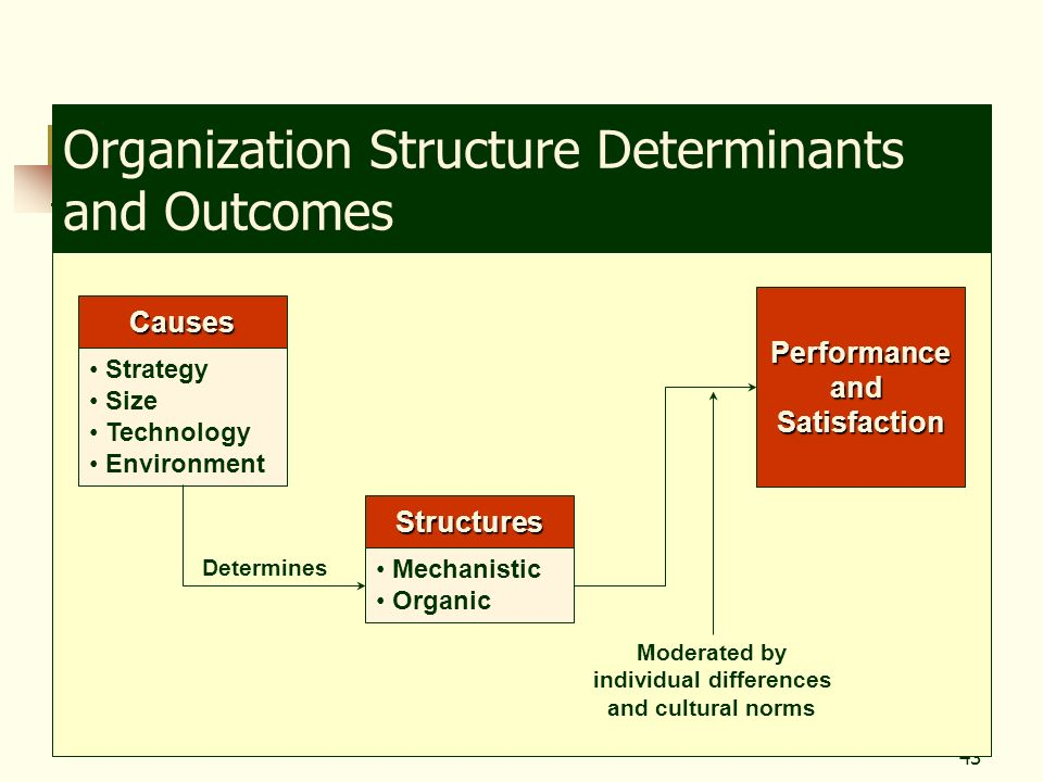 43 Organization Structure Determinants and Outcomes Causes Strategy Size Technology Environment Structures Mechanistic Organic Determines Performancea