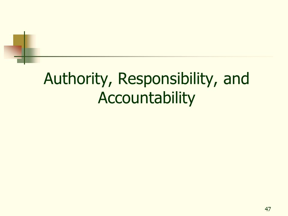47 Authority, Responsibility, and Accountability