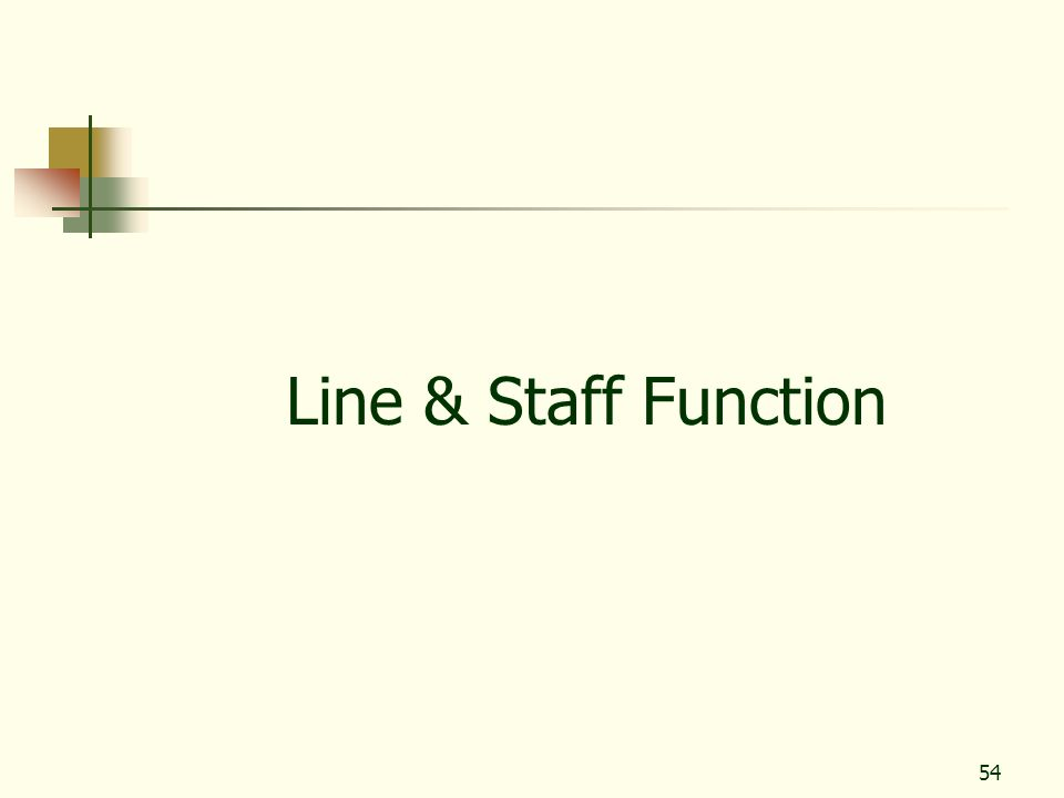 54 Line & Staff Function