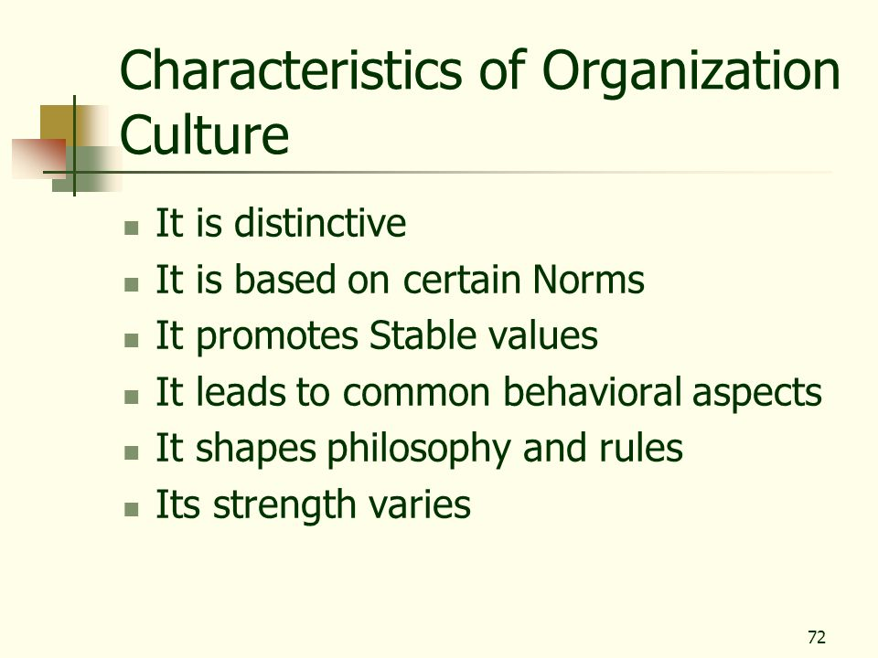 72 Characteristics of Organization Culture It is distinctive It is based on certain Norms It promotes Stable values It leads to common behavioral aspe