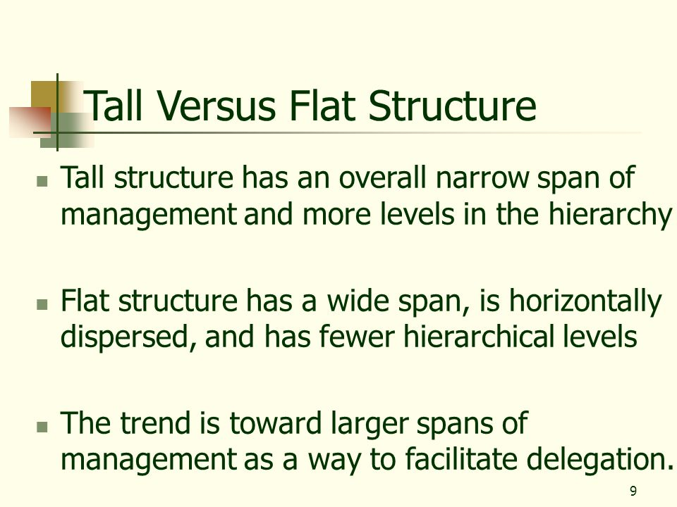 9 Tall Versus Flat Structure Tall structure has an overall narrow span of management and more levels in the hierarchy Flat structure has a wide span,