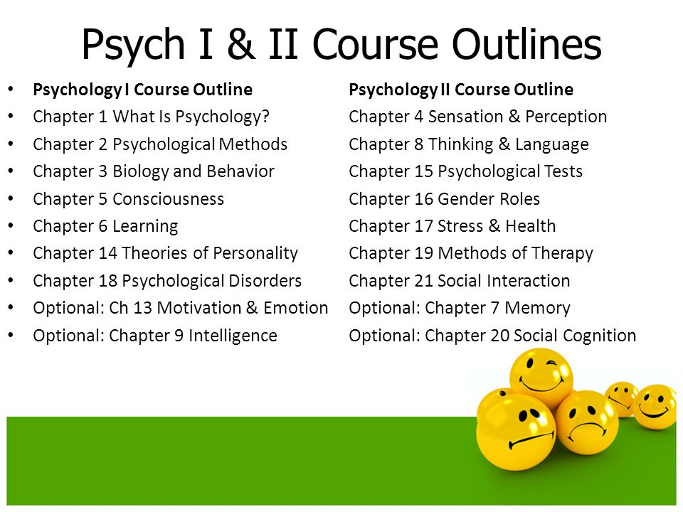 Psych I & II Course Outlines Psychology I Course OutlinePsychology II Course Outline Chapter 1 What Is Psychology Chapter 4 Sensation & Perception Chapter 2 Psychological MethodsChapter 8 Thinking & Language Chapter 3 Biology and BehaviorChapter 15 Psychological Tests Chapter 5 ConsciousnessChapter 16 Gender Roles Chapter 6 LearningChapter 17 Stress & Health Chapter 14 Theories of PersonalityChapter 19 Methods of Therapy Chapter 18 Psychological DisordersChapter 21 Social Interaction Optional: Ch 13 Motivation & EmotionOptional: Chapter 7 Memory Optional: Chapter 9 IntelligenceOptional: Chapter 20 Social Cognition