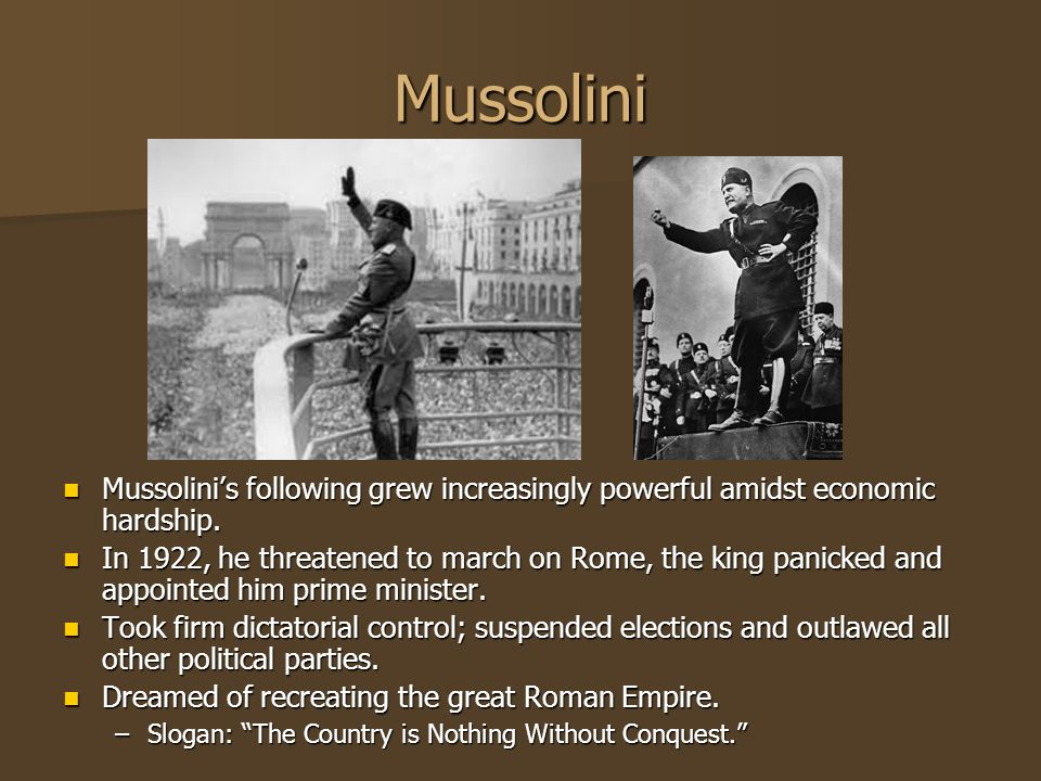 Mussolini Mussolinis following grew increasingly powerful amidst economic hardship. Mussolinis following grew increasingly powerful amidst economic ha