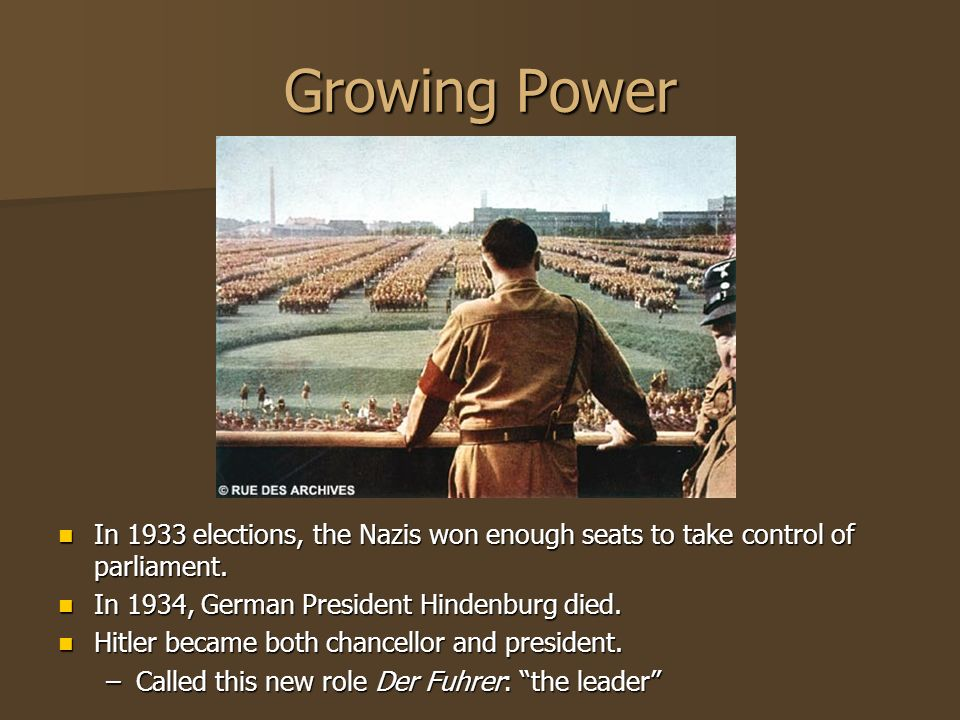 Growing Power In 1933 elections, the Nazis won enough seats to take control of parliament. In 1933 elections, the Nazis won enough seats to take contr