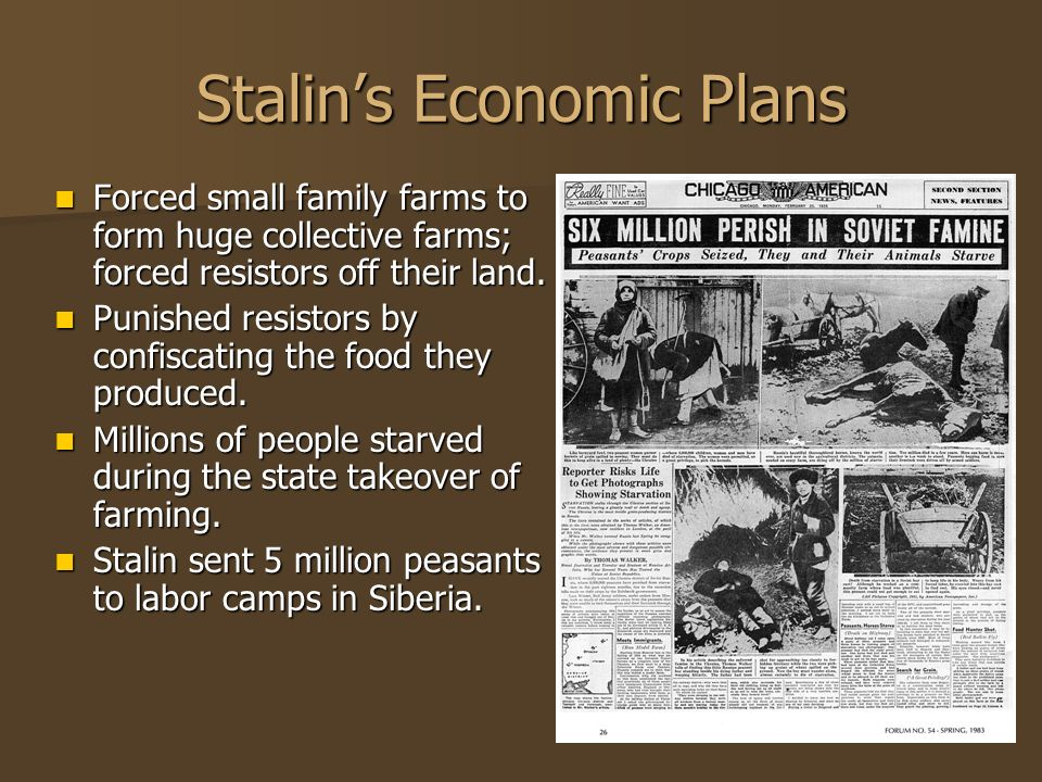 Stalins Industrial Takeover Assigned millions of laborers from rural areas to build and run new industrial centers producing iron, steel, oil, and coal.
