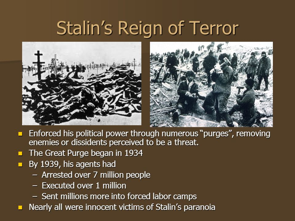 Stalins Reign of Terror Enforced his political power through numerous purges, removing enemies or dissidents perceived to be a threat. Enforced his po