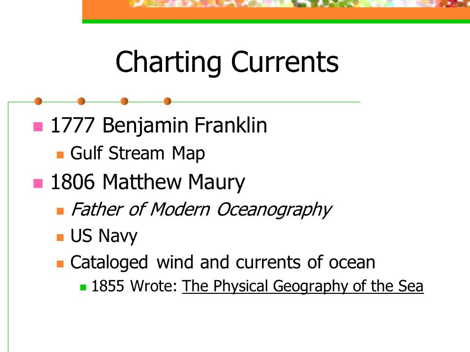 Charting Currents 1777 Benjamin Franklin Gulf Stream Map 1806 Matthew Maury Father of Modern Oceanography US Navy Cataloged wind and currents of ocean