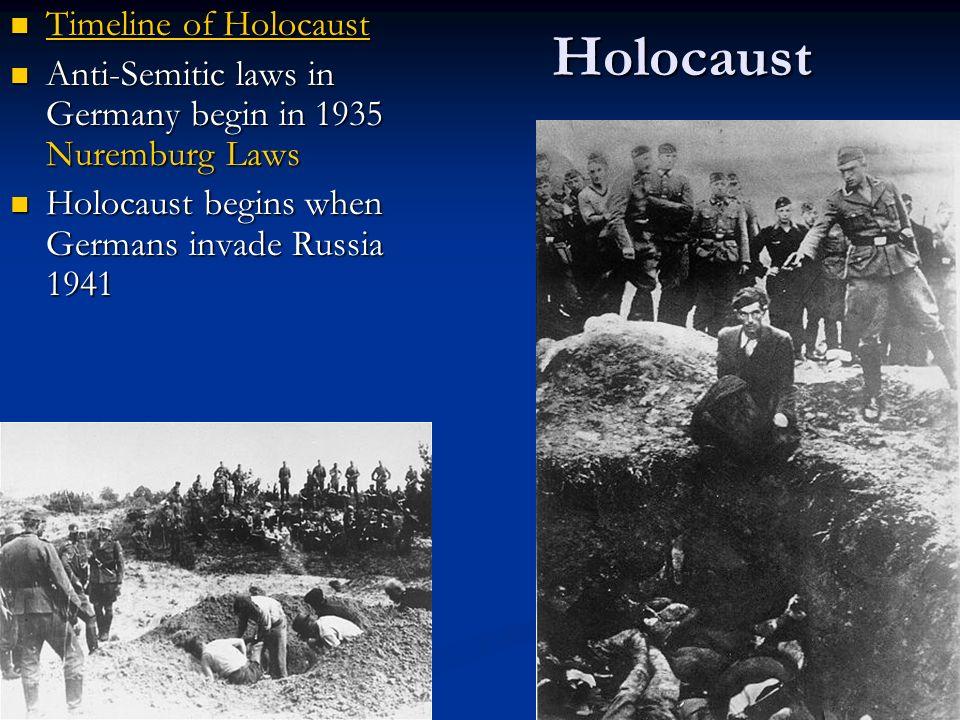 Holocaust Timeline of Holocaust Timeline of Holocaust Timeline of Holocaust Timeline of Holocaust Anti-Semitic laws in Germany begin in 1935 Nuremburg