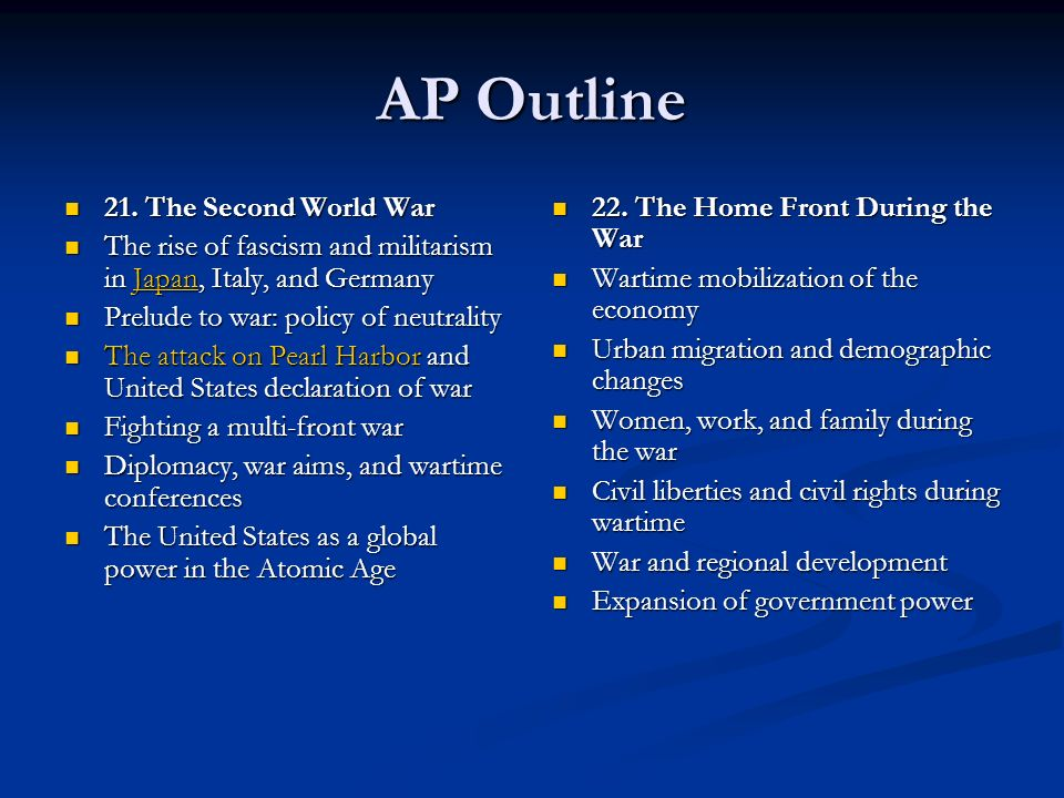 AP Outline 21. The Second World War 21. The Second World War The rise of fascism and militarism in Japan, Italy, and Germany The rise of fascism and m