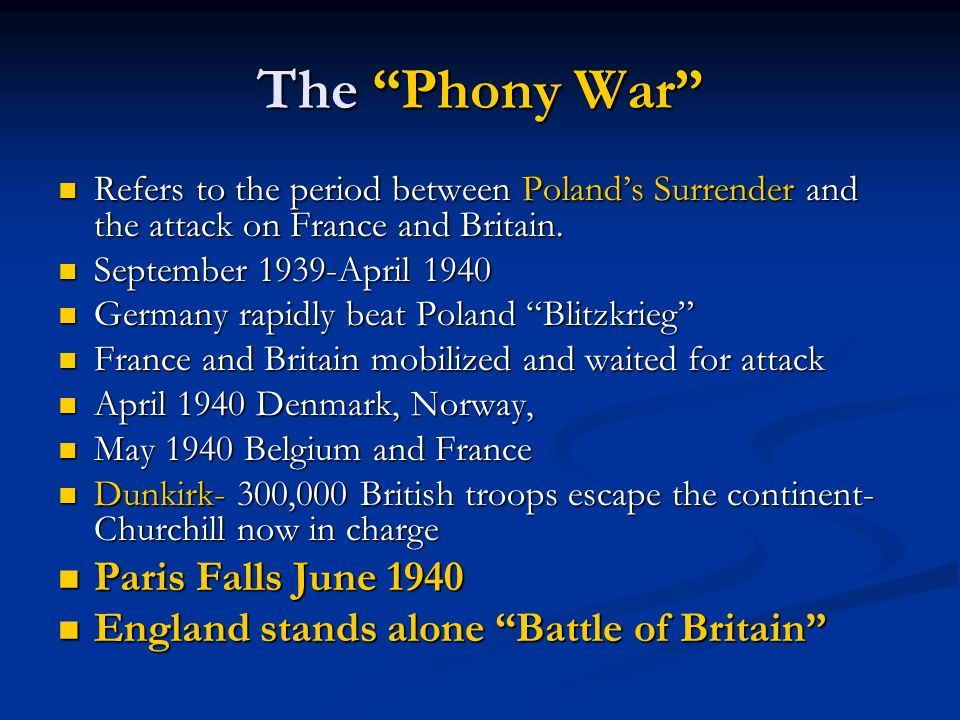 The Phony War Refers to the period between Polands Surrender and the attack on France and Britain. Refers to the period between Polands Surrender and