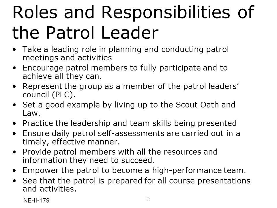 NE-II-179 Roles and Responsibilities of the Patrol Leader Take a leading role in planning and conducting patrol meetings and activities Encourage patrol members to fully participate and to achieve all they can.