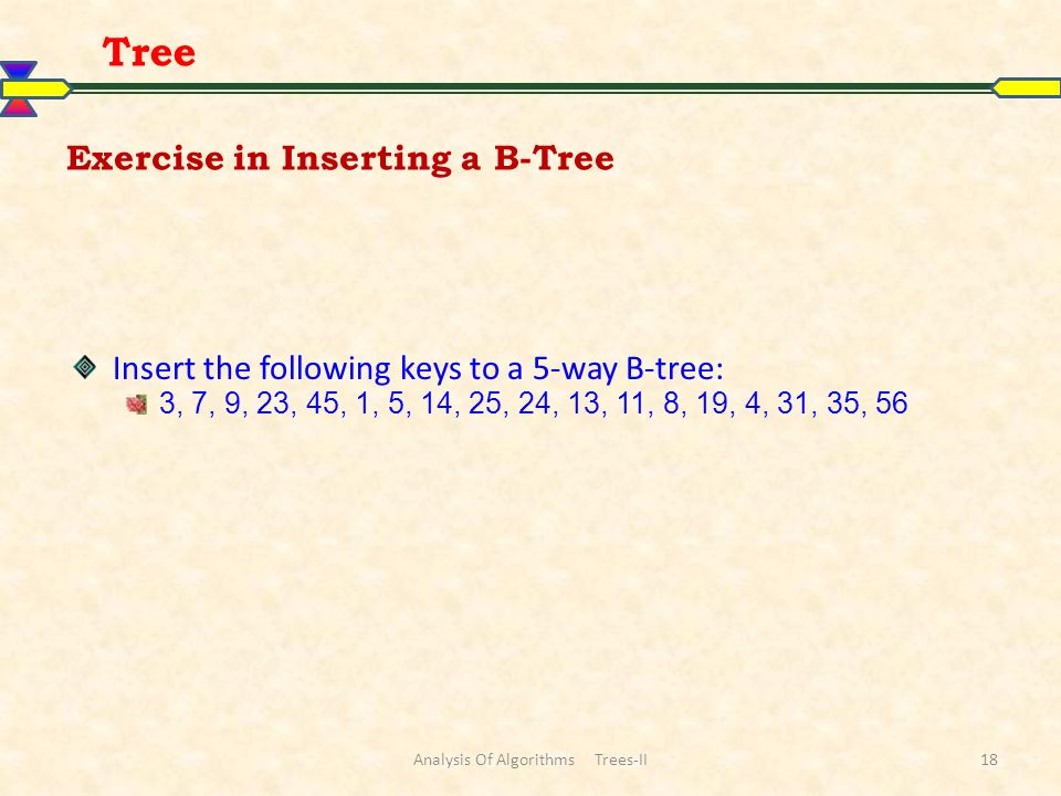 Exercise in Inserting a B-Tree Insert the following keys to a 5-way B-tree: 3, 7, 9, 23, 45, 1, 5, 14, 25, 24, 13, 11, 8, 19, 4, 31, 35, 56 Tree Analysis Of Algorithms Trees-II18