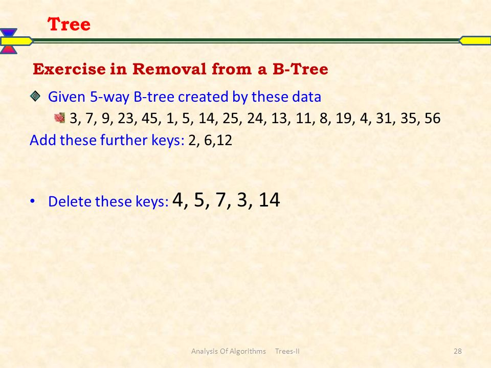 Exercise in Removal from a B-Tree Given 5-way B-tree created by these data 3, 7, 9, 23, 45, 1, 5, 14, 25, 24, 13, 11, 8, 19, 4, 31, 35, 56 Add these further keys: 2, 6,12 Delete these keys: 4, 5, 7, 3, 14 Tree Analysis Of Algorithms Trees-II28