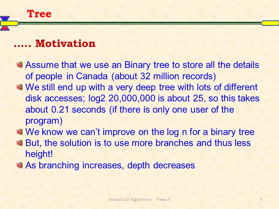 6 A B-tree of order m is a tree where each node may have up to m children in which: the number of keys in each non-leaf node is one less than the number of its children and these keys partition the keys in the children in the fashion of a search tree all leaves are on the same level all non-leaf nodes except the root have at least m / 2 children the root is either a leaf node, or it has from two to m children a leaf node contains no more than m – 1 keys The number m should always be odd Tree B-Tree