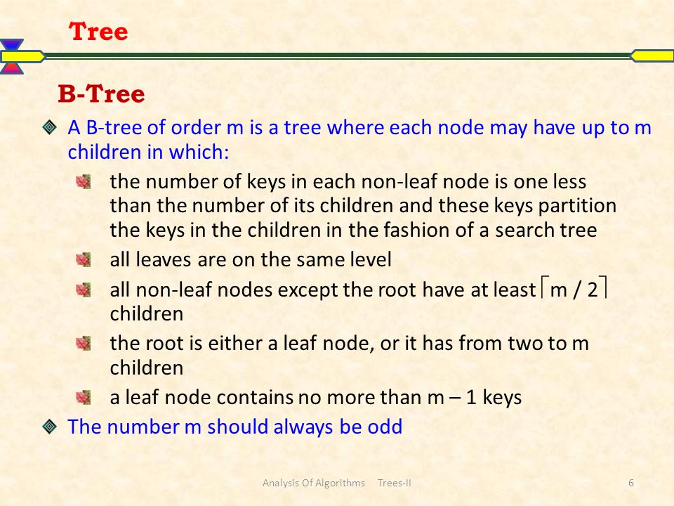 Analysis Of Algorithms Trees-II7 Tree 516242 612 26 5560 706490 45 1247813151825 2729464853 A B-tree of order 5 containing 26 items