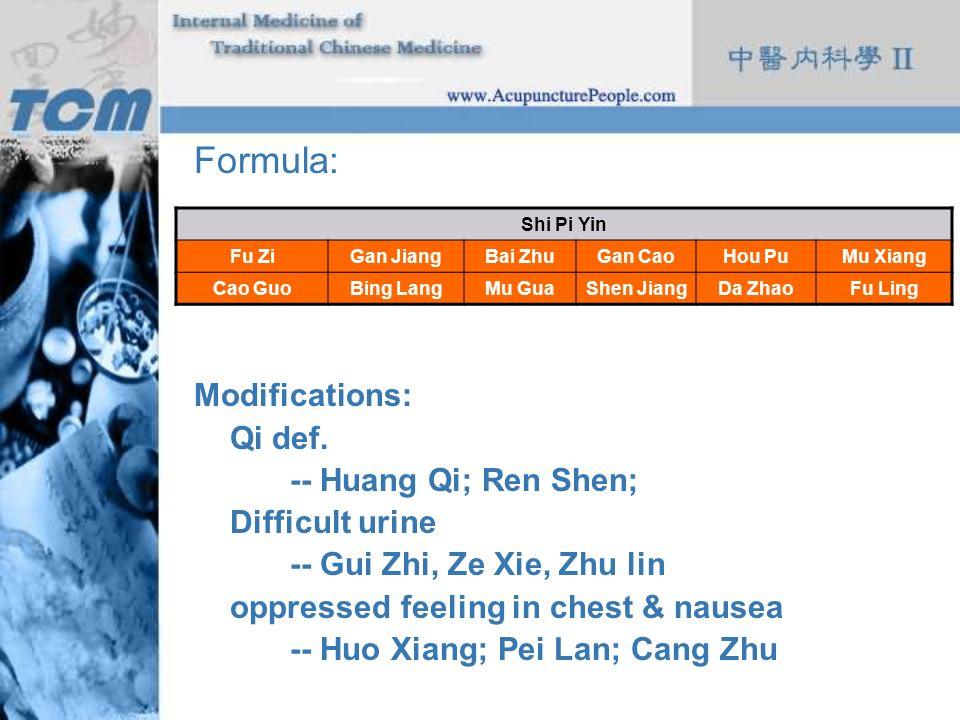 Formula: Modifications: Qi def. -- Huang Qi; Ren Shen; Difficult urine -- Gui Zhi, Ze Xie, Zhu lin oppressed feeling in chest & nausea -- Huo Xiang; P
