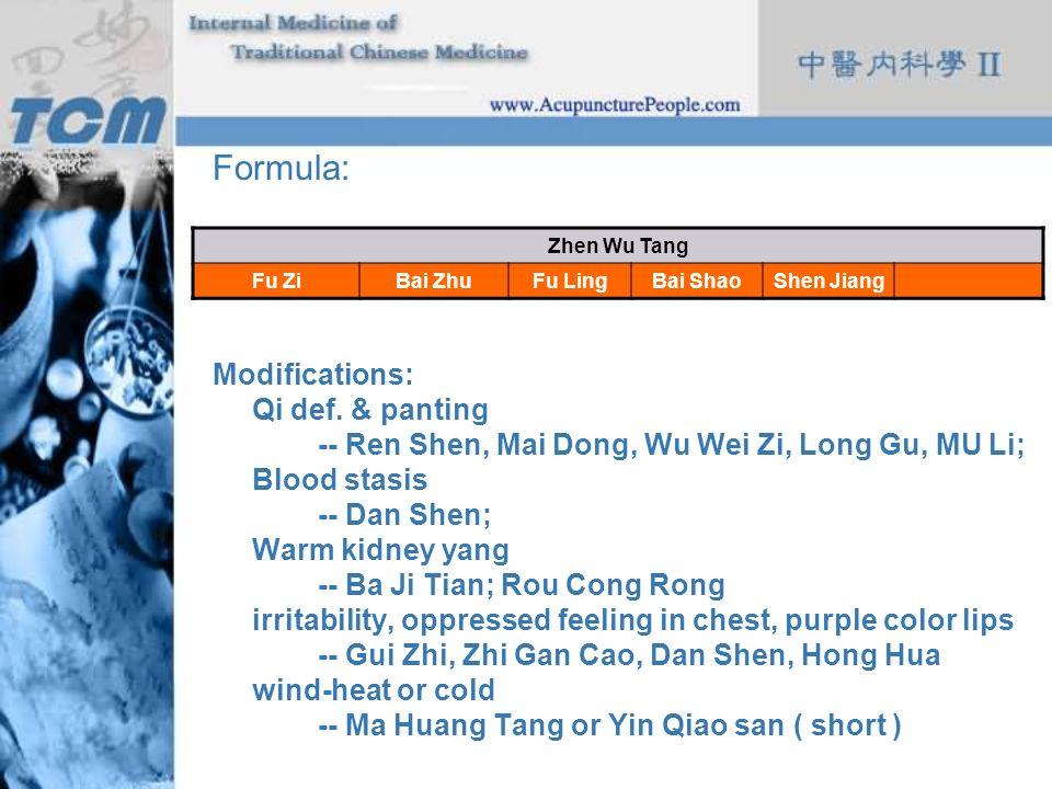 Formula: Modifications: Qi def. & panting -- Ren Shen, Mai Dong, Wu Wei Zi, Long Gu, MU Li; Blood stasis -- Dan Shen; Warm kidney yang -- Ba Ji Tian;