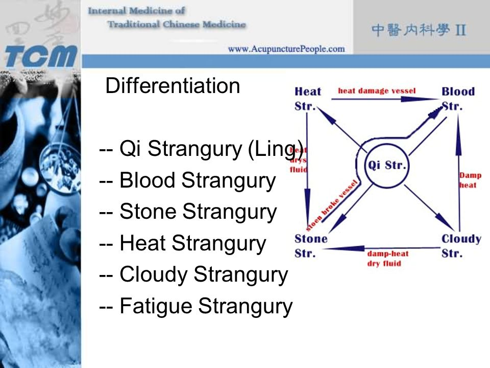 Differentiation -- Qi Strangury (Ling) -- Blood Strangury -- Stone Strangury -- Heat Strangury -- Cloudy Strangury -- Fatigue Strangury