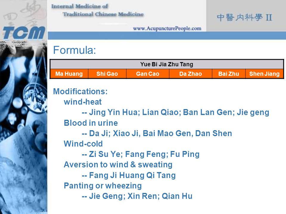 Formula: Modifications: wind-heat -- Jing Yin Hua; Lian Qiao; Ban Lan Gen; Jie geng Blood in urine -- Da Ji; Xiao Ji, Bai Mao Gen, Dan Shen Wind-cold