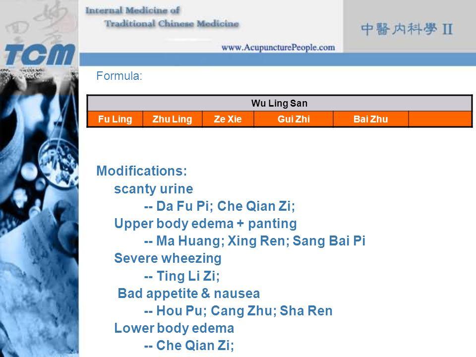 Formula: Modifications: scanty urine -- Da Fu Pi; Che Qian Zi; Upper body edema + panting -- Ma Huang; Xing Ren; Sang Bai Pi Severe wheezing -- Ting L