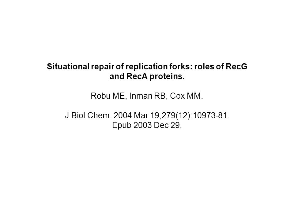 Situational repair of replication forks: roles of RecG and RecA proteins. Robu ME, Inman RB, Cox MM. J Biol Chem. 2004 Mar 19;279(12):10973-81. Epub 2